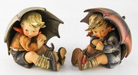 Hummel Umbrella Tmk-4 Girl & Tmk-3 Boy Figurines