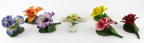 Lot Of 7 Capodimonte Porcelain Flowers & Cross