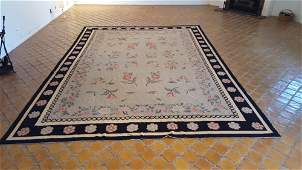 EARLY 19TH NEEDLEPOINT FLORAL RUG