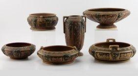 (6) Pieces Roseville Florentine Pottery