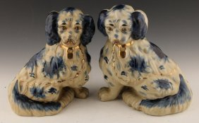Pair Of Blue & White Porcelain Dog Figurines