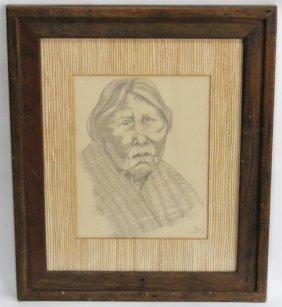 Pencil Drawing Of A Skokomish Woman Signed