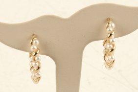 14k Yellow Gold White Pearl Twist Hoop Earrings