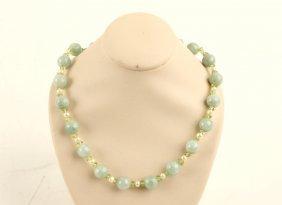 14k Yellow Gold Jade Pearl Peridot Strand Necklace