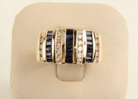 14k Yellow Gold 1.26ct Sapphire .66ct Diamond Band