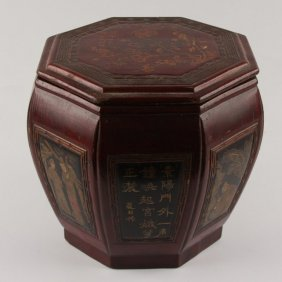 Chinese Lacquered Wooden Rice Barrel