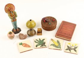 Lot | Pottery, Basket, Painted Tile, Glass Inkwell