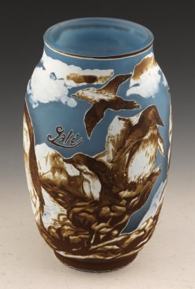 Reproduction Galle Cameo Glass Bird Motif Vase