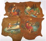 4 NATIVE AMERICAN LANDSCAPE PAINTING ON LEATHER