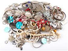 LARGE LOT OF MIXED SILVER TONE COSTUME JEWELRY