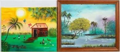 PAIR OF BL BUTLER FLORIDA SCENES OIL ON CANVAS