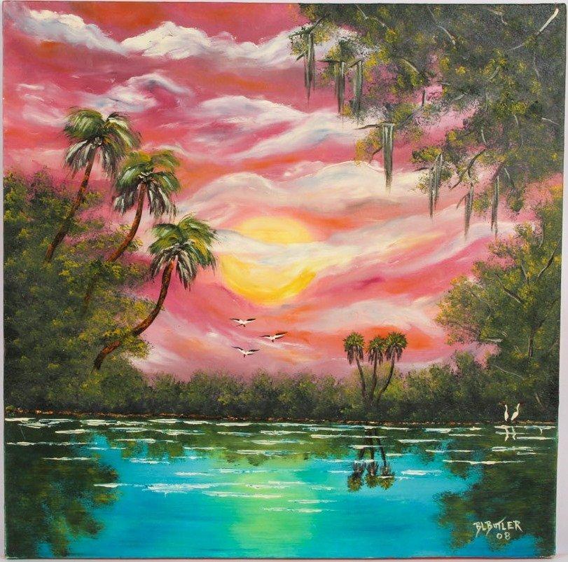 B.L BUTLER FLORIDA WETLANDS OIL ON CANVAS