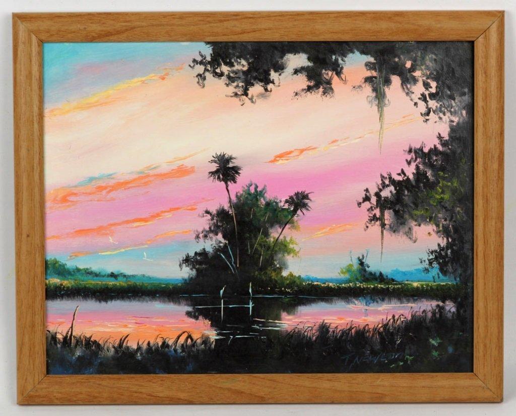 TRACY NEWTON FLORIDA WETLAND OIL ON MASONITE