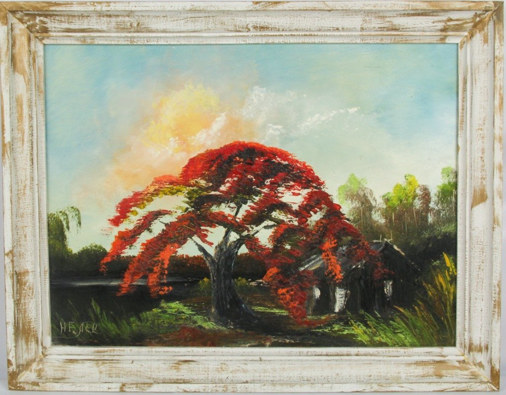 HORACE FOSTER ROYAL POINCIANA OIL ON MASONITE