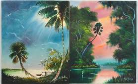 PAIR OF PAT ROLLINS FLORIDA SCENES OIL ON CANVAS