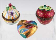 LOT OF 3 HAND PAINTED LIMOGES FRANCE TRINKET BOXES