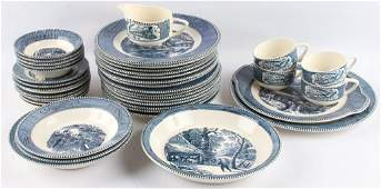 39 ROYAL CURRIER  IVES EARLY WINTER CHINA PIECES