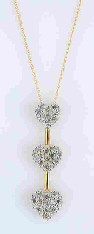 10K YELLOW GOLD THREE HEART DIAMOND NECKLACE