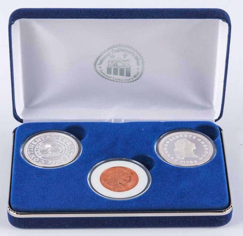 3 COIN SET NATIONAL COLLECTORS MINT SILVER COPPER