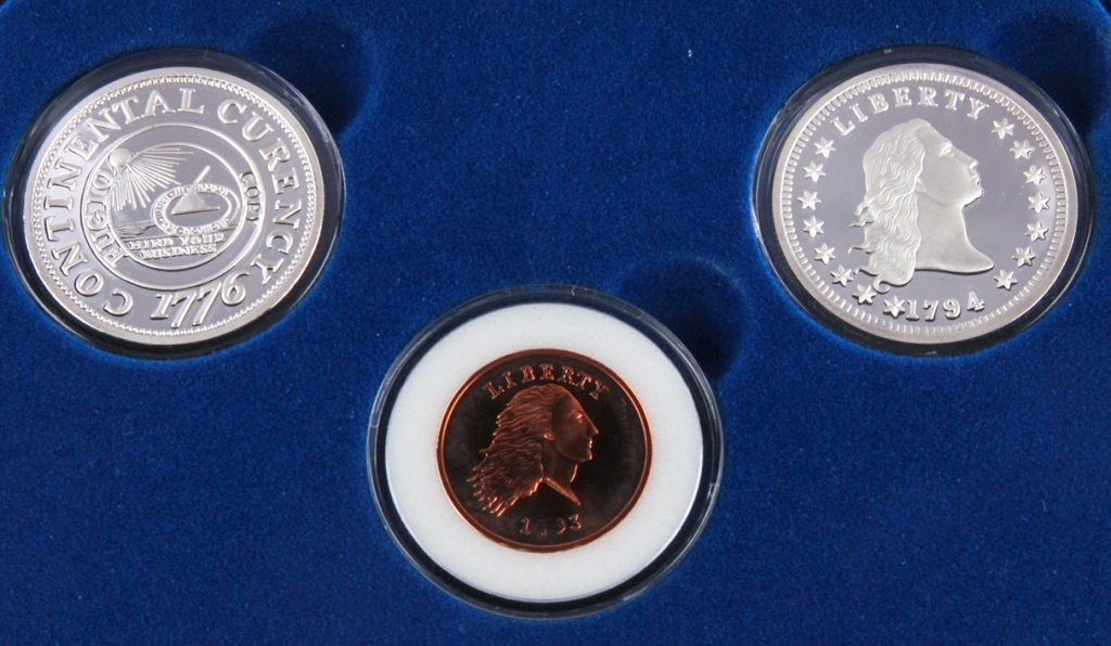3 COIN SET NATIONAL COLLECTORS MINT SILVER COPPER - 2
