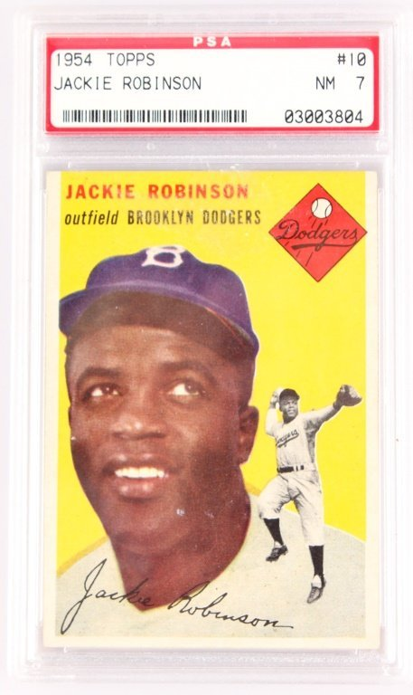 "PSA ""7"" TOPPS 1954 JACKIE ROBINSON BASEBALL CARD"