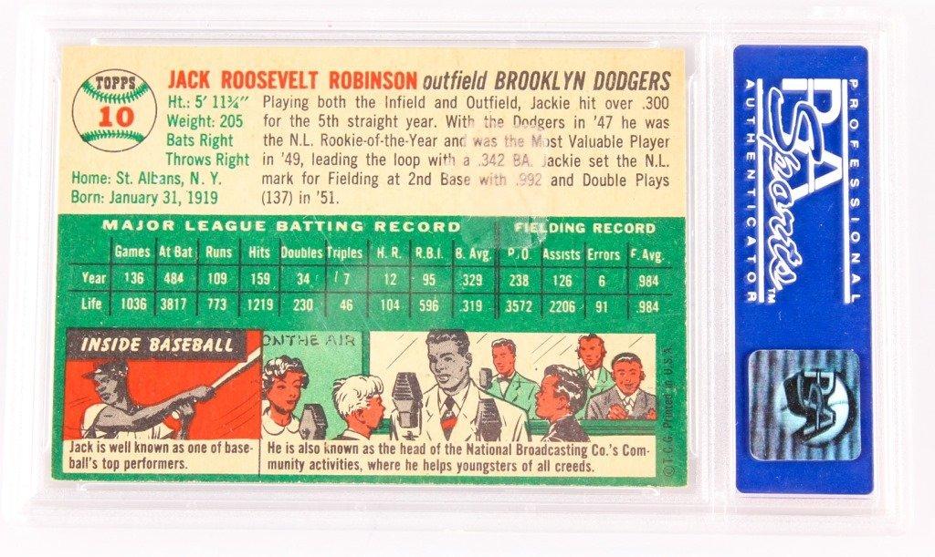 "PSA ""7"" TOPPS 1954 JACKIE ROBINSON BASEBALL CARD - 2"