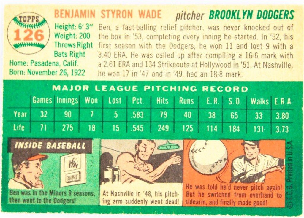 1954 TOPPS 126 BEN WADE BASEBALL CARD - 2