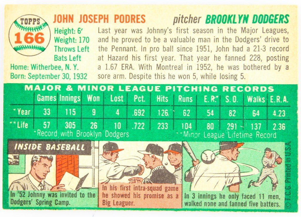 1954 TOPPS 166 JOHNNY PODRES BASEBALL CARD - 2