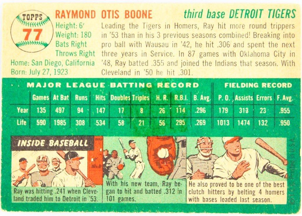 1954 TOPPS 77  RAY BOONE BASEBALL CARD - 2