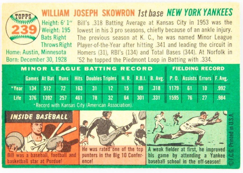 1954 TOPPS 239 BILL SKOWRON BASEBALL CARD - 2