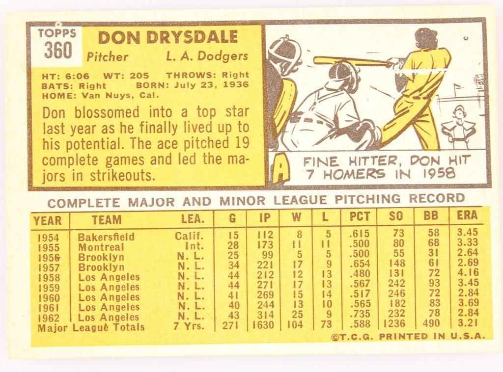 1963 TOPPS 360 DON DRYSDALE BASEBALL CARD - 2