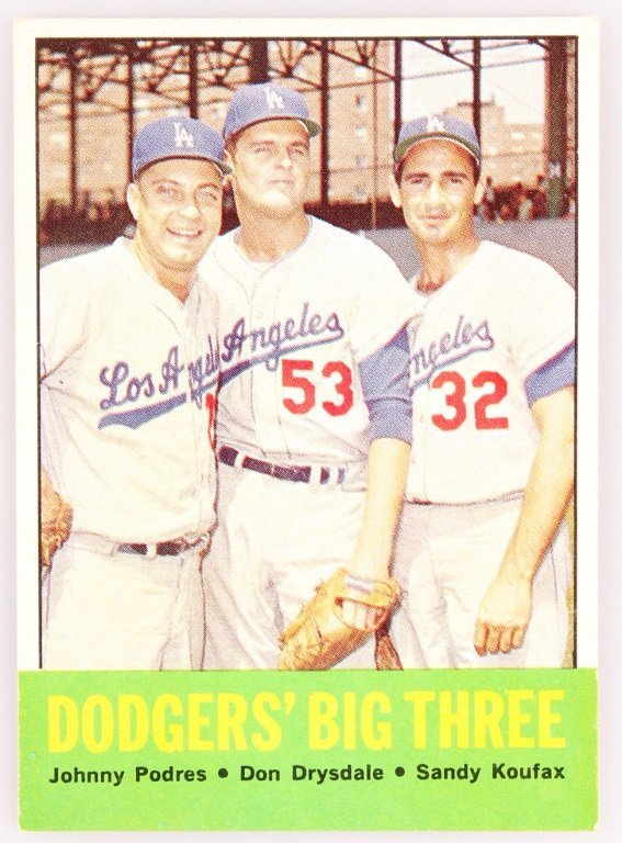 1963 TOPPS 412 DODGERS' BIG THREE BASEBALL CARD