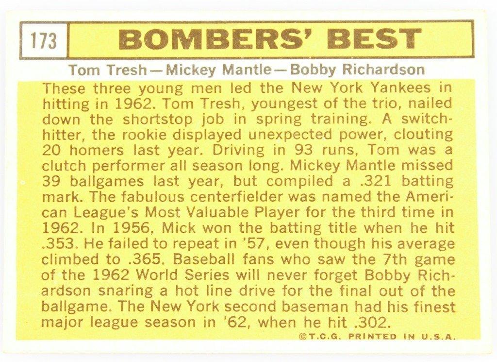 1963 TOPPS 173 YANKEES BOMBERS' BEST BASEBALL CARD - 2