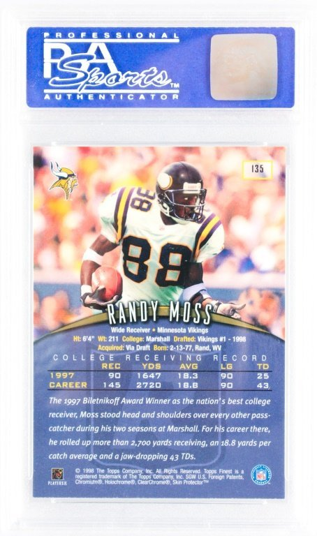 PSA GRADED TOPPS FINEST 135 1998 RANDY MOSS W/COAT - 2