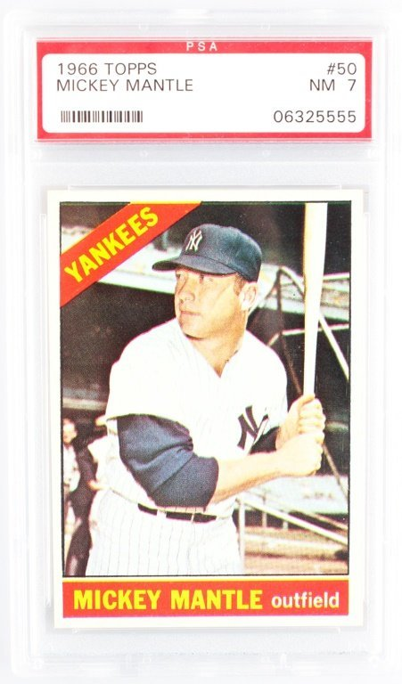 PSA GRADED TOPPS 50 1966 MICKEY MANTLE NM 7