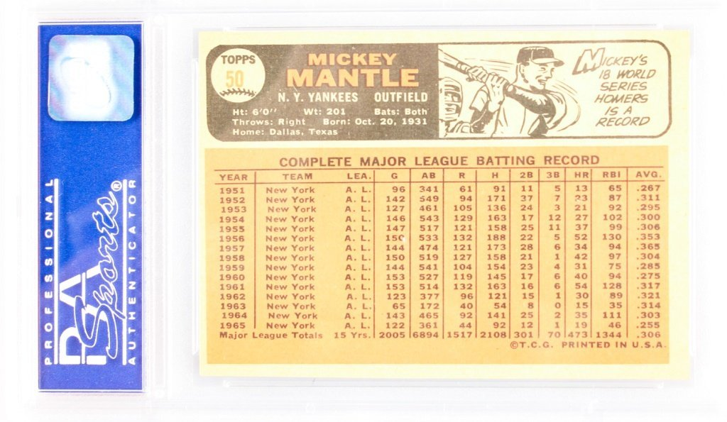 PSA GRADED TOPPS 50 1966 MICKEY MANTLE NM 7 - 2