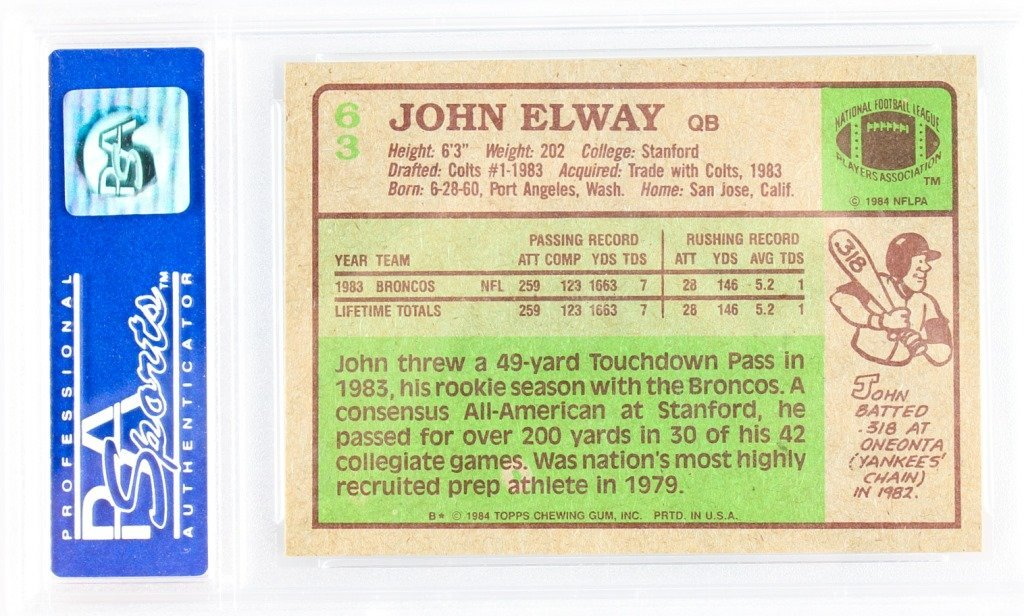PSA GRADED 1984 TOPPS 63 JOHN ELWAY NM-MT 8 - 2