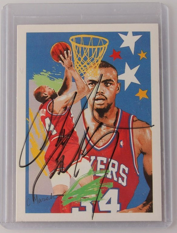 1990 NBA HOOPS 374 CHARLES BARKLEY AUTOGRAPH CARD