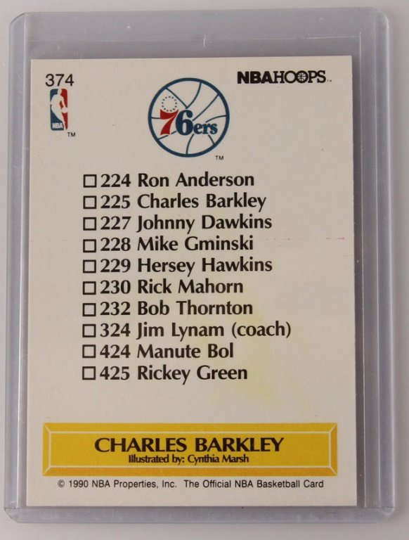 1990 NBA HOOPS 374 CHARLES BARKLEY AUTOGRAPH CARD - 2