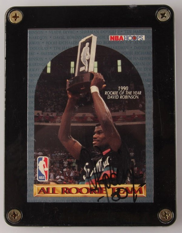 1990 NBA HOOPS DAVID ROBINSON ROOKIE AUTOGRAPHED