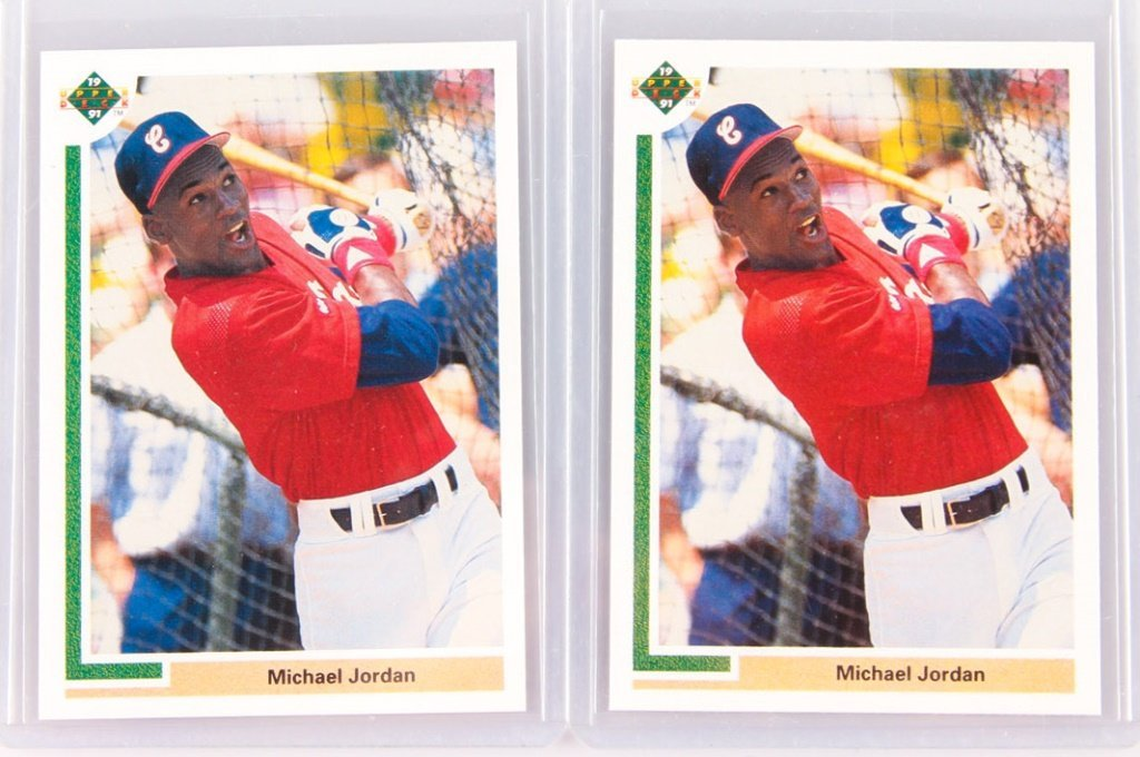 TWO 1991 UPPER DECK MICHAEL JORDAN BASEBALL CARDS