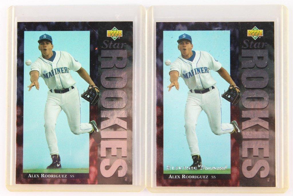 TWO 1994 UPPER DECK 24 ALEX RODRIGUEZ ROOKIE CARDS