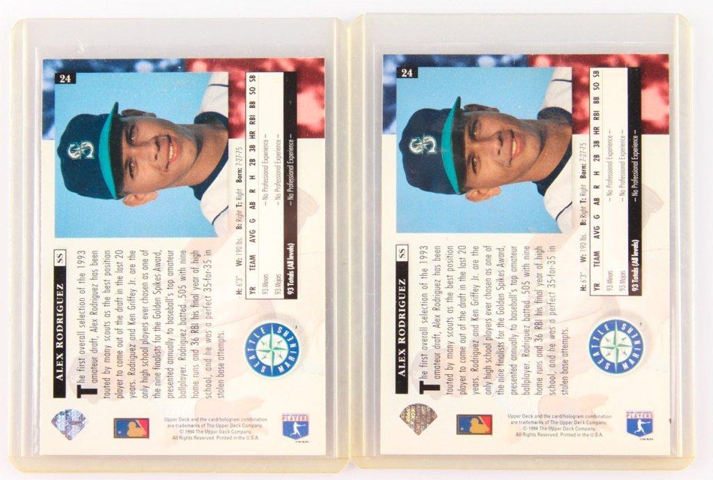 TWO 1994 UPPER DECK 24 ALEX RODRIGUEZ ROOKIE CARDS - 2