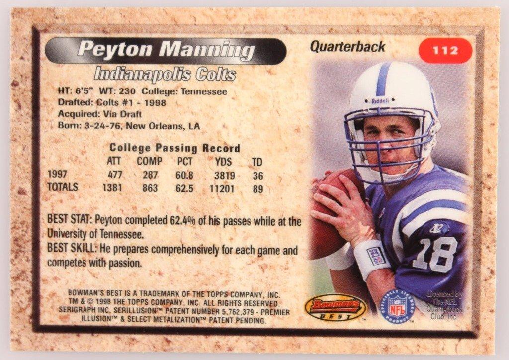 1998 BOWMAN'S BEST 112 PEYTON MANNING CARD - 2
