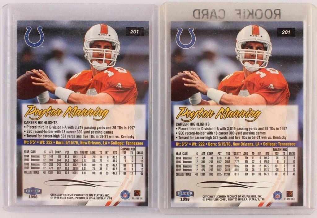 1998 TWO FLEER 201 PEYTON MANNING ROOKIE CARDS - 4