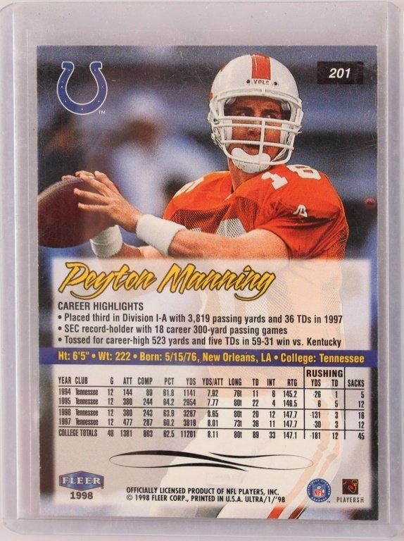 1998 TWO FLEER 201 PEYTON MANNING ROOKIE CARDS - 5