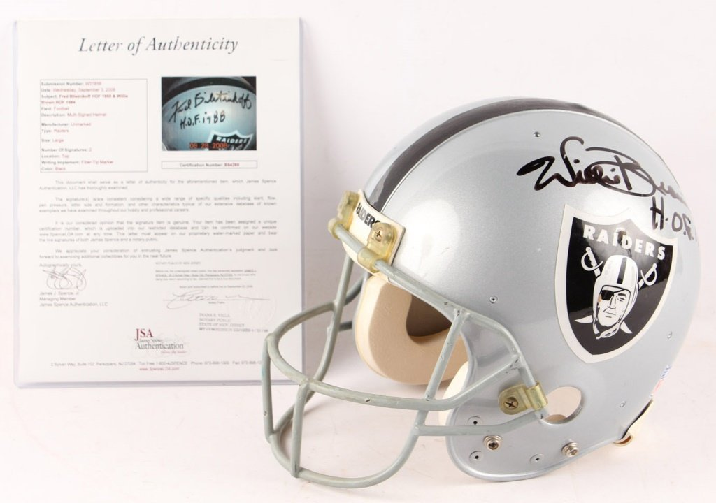 SIGNED FOOTBALL HELMET HOF BILETNIKOFF & W. BROWN