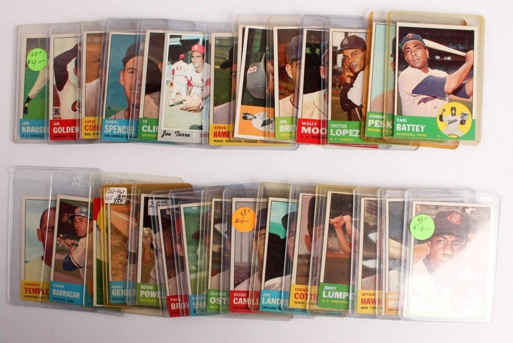 LOT OF 40 MIXED TOPPS BASEBALL CARDS 1955-1963