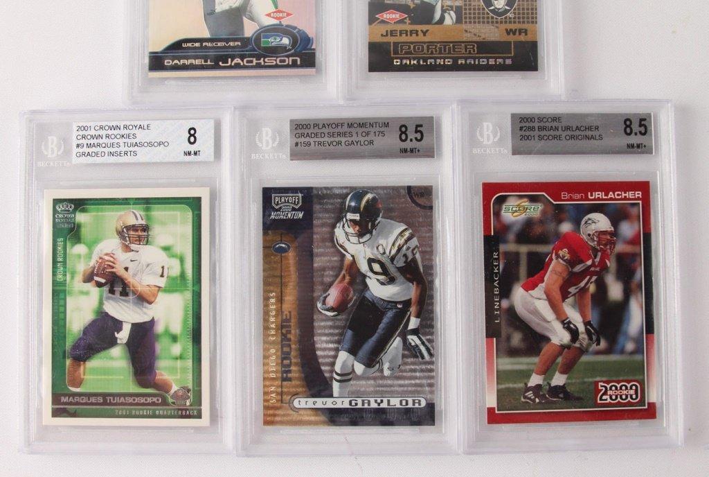 FIVE BECKETT GRADED FOOTBALL CARDS: 2000, 2001 - 3