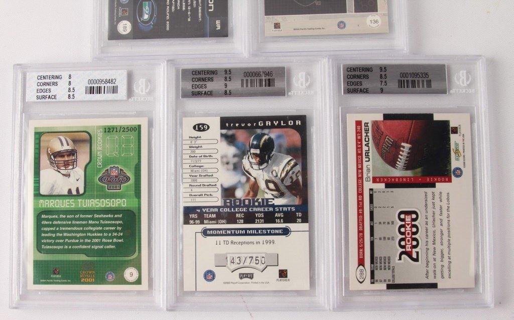 FIVE BECKETT GRADED FOOTBALL CARDS: 2000, 2001 - 5